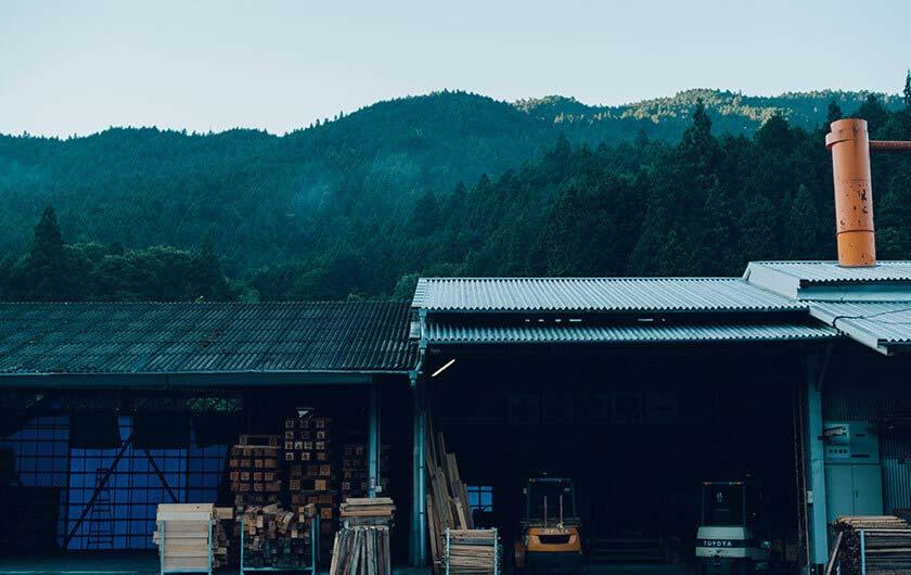 白川製材工場の外観。